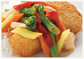 Crumbed Fried Seer Fish with Buttered Vegetables